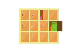 Lockers Vector Illustration in Flat Style Design.