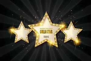Three gold stars. 6 color version.