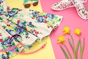 Fashion Summer girl Outfit, Accessories.Essentials