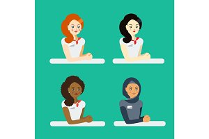 Women workers vector illustration