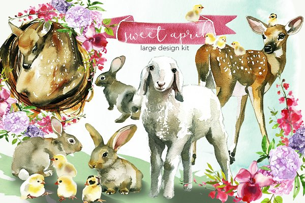 Easter Animals Flowers Clipart