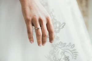 Bride hand with ring. Close-up