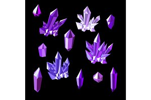Set of amethyst crystals
