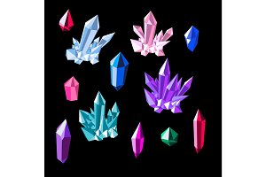 Colorful shiny bright crystals. Red crystal, blue crystal, green crystal, purple crystal, aqamarine crystal, emerald crystal, ruby crystal, tourmaline crystal, quartz crystal, diamond crystal isolated on black