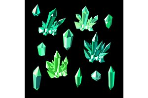 Green emerald crystals