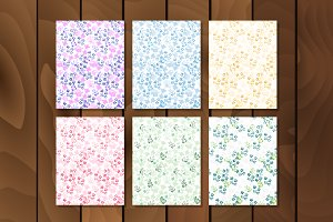 Set of romantic flowers patterns