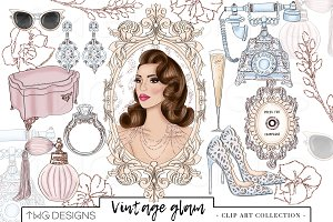 Fashion Girl Vintage Glam Clip Art