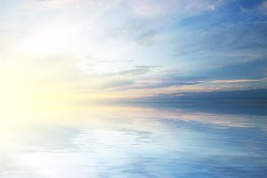 Beautiful sky and waves background