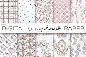 Mauve Pink Blue Digital Papers