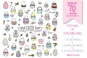 70 hand drawn Easter elements!
