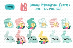 Flower bunny monogram frames svg