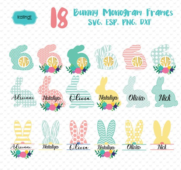 Flower Bunny Monogram Frames Svg