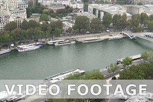 Paris aerial tilt view of Seine and bridges