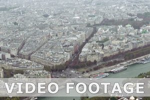Paris aerial tilt view of Seine and bridges