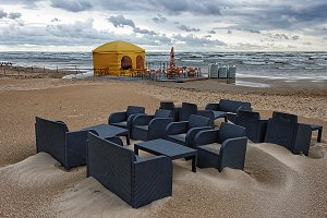 Cafe on the Baltic sea in a storm