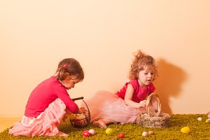 Girls on an Easter Egg hunt