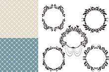 Vintage floral frame and pattern