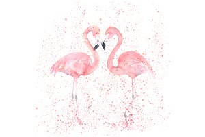Watercolor Flamingos