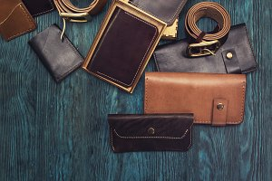 Men's accessories on a blue wooden