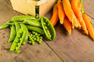 Fresh peas and carrots
