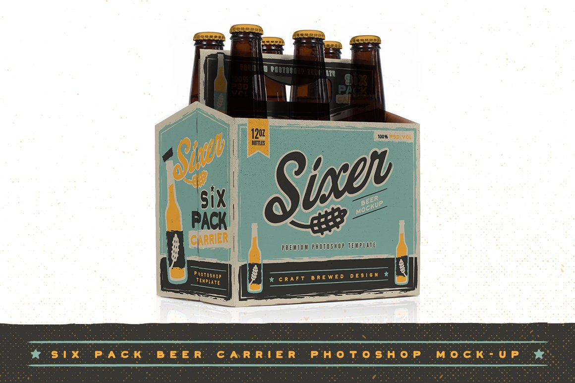 Six Pack Beer Bottle Carrier Mock Up Product Mockups Creative Market