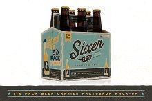 Six pack beer bottle carrier Mock-Up