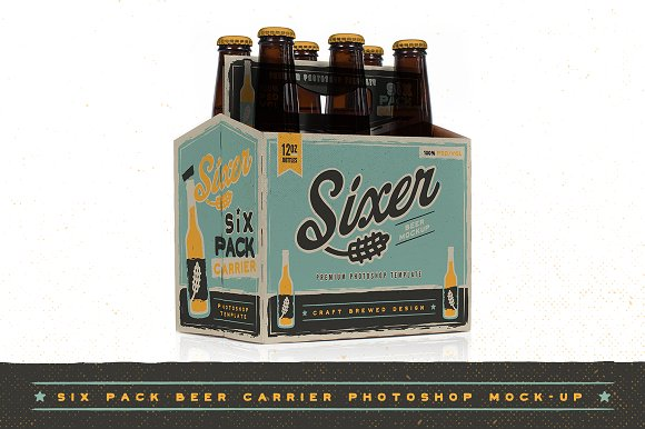 Six pack beer bottle carrier mock up product mockups on for 6 pack beer carrier template
