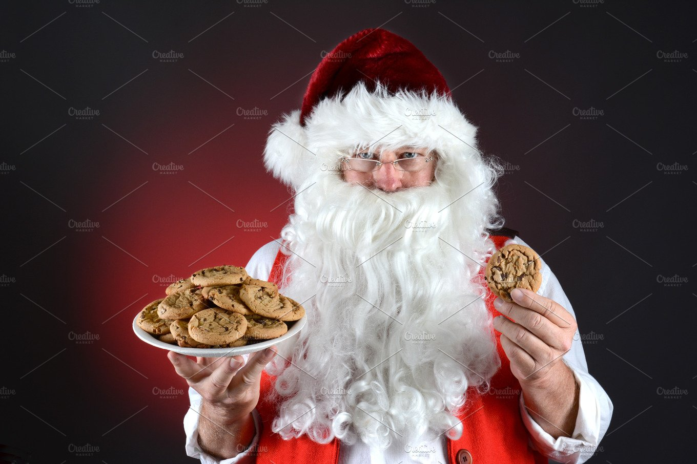 Santa With Plate Of Cookies