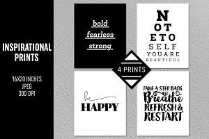 4 Inspirational Prints Set