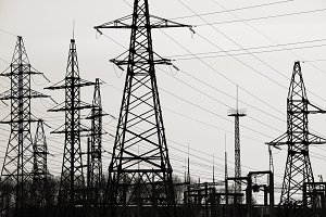 High-voltage towers and substation