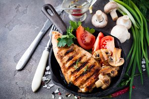 Marinated grilled healthy chicken breasts