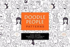 Doodle People Pattern Set