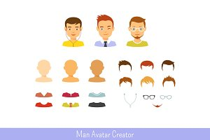 Man avatar creator and male icon set
