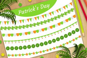 St. Patrick's Day bunting, flags set
