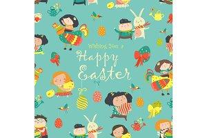 Easter cartoon seamless pattern