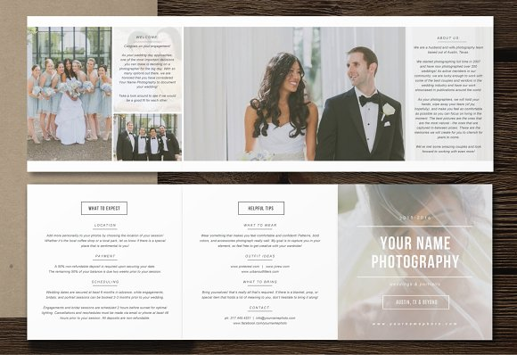 Minimal Photography Pricing Trifold