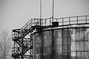 Storage tank in black and white