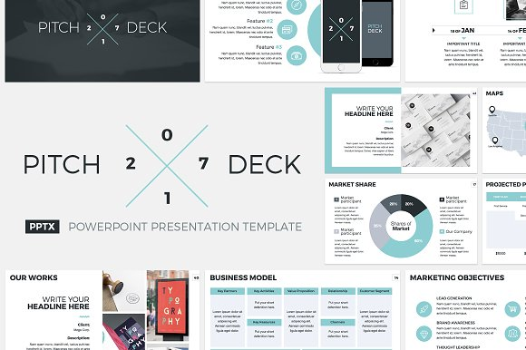 pitch deck 2017 powerpoint template presentation templates creative market. Black Bedroom Furniture Sets. Home Design Ideas