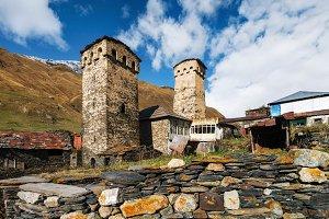 Svan Towers and house with flagstone
