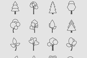 Outlined Tree Icons