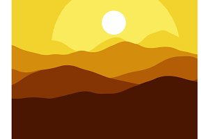 Mountains on the Sun sunset bright background. illustration