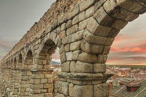 Segovia Aqueduct at dusk.
