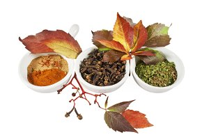 Autumn spices and leafs over white