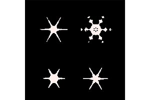vintage snowflake set . 4 original snow flakes for Christmas, New Year decoration. Hand drawn doodle objects.
