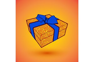 gift box present with blue bow anrd ibbon.  illustration for 8 march happy womans day