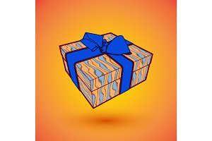 gift box present with blue bow anrd ibbon. EPS10 Vector illustration for 8 march happy womans day