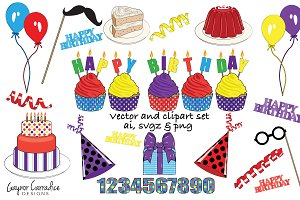 Birthday vector and clipart set