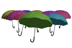 Multicolored umbrellas isolated