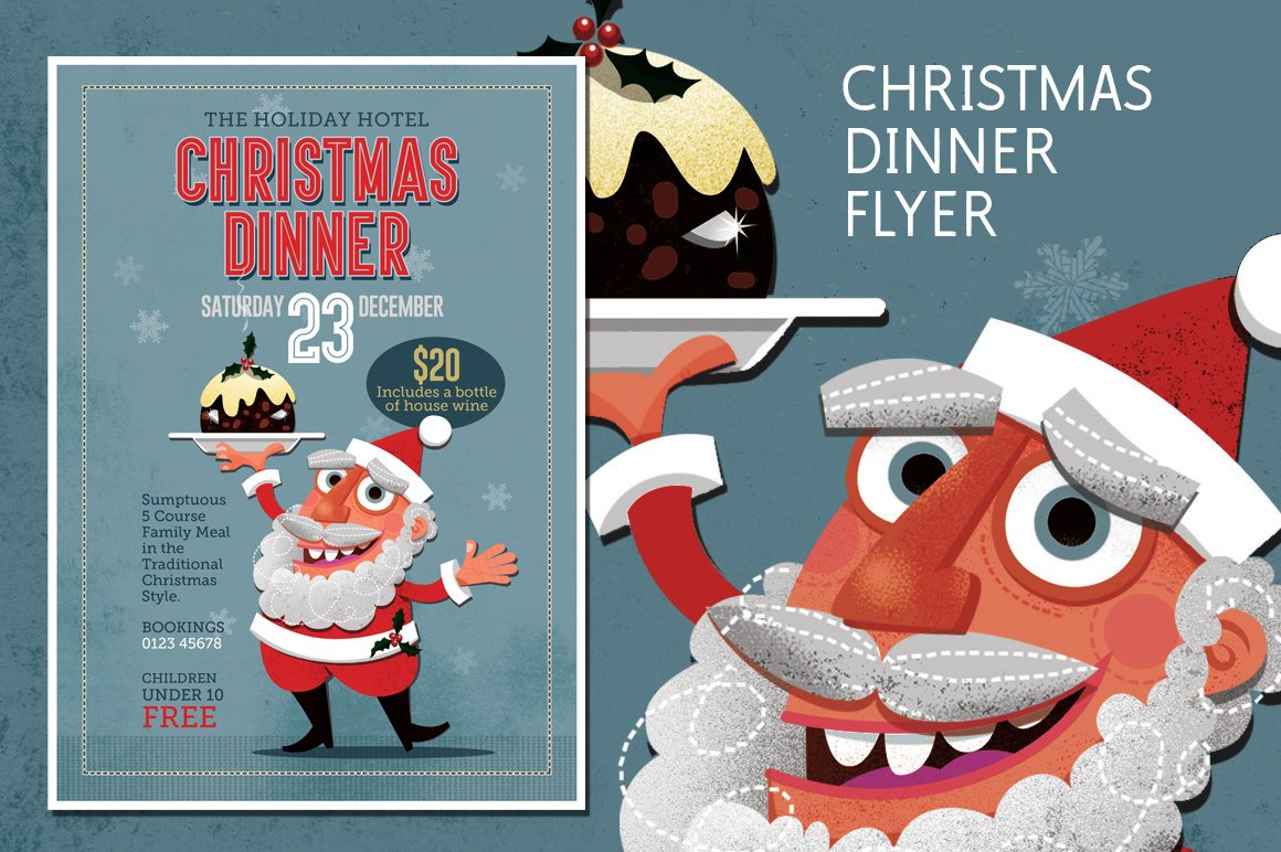 christmas dinner flyer template flyer templates creative market