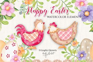 Happy Easter - watercolor elements